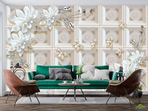 3Д барельеф Фотообои Керамические цветы на фоне золотой стены купить