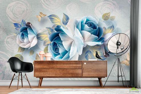 3Д  Фотообои Синие цветы