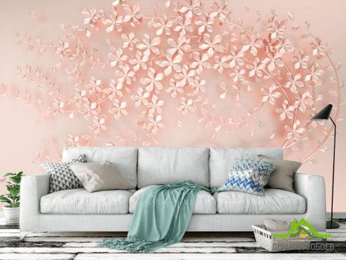 обои 3D барельеф Фотообои Розовое перламутровое дерево