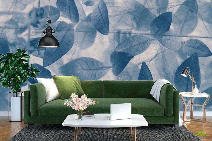 Фотообои серо-голубые листья