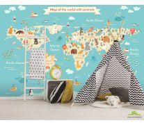 Фотообои Детская карта с животными