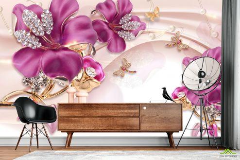 3Д  Фотообои Шикарные розовые брошки