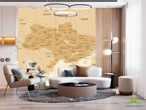 Фотообои карта Мира по выгодной цене Фотообои Административная карта Украины
