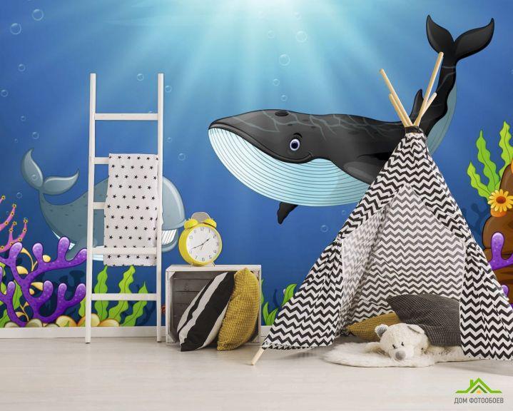 Фотообои Кит и дельфин