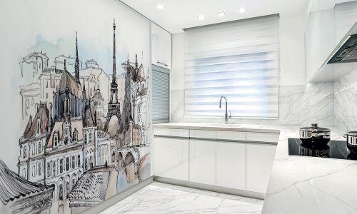 Фотообои в интерьере кухни с фото - Фотообои Париж