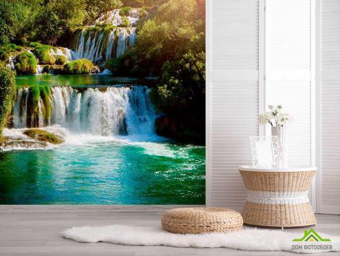 обои Природа Фотообои Длинный водопад
