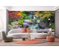 Фотообои Водопад в японском саду