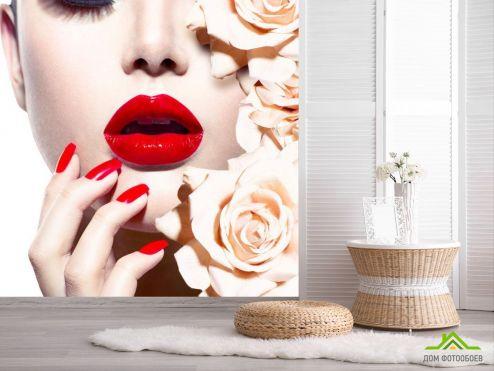 обои Розы Фотообои девушка и розы