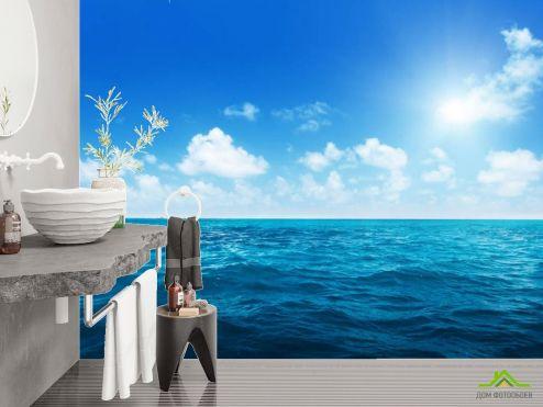 Фотообои в ванную по выгодной цене Фотообои Море с облаками