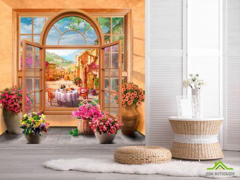 в стиле прованс Фотообои Окно фреска купить
