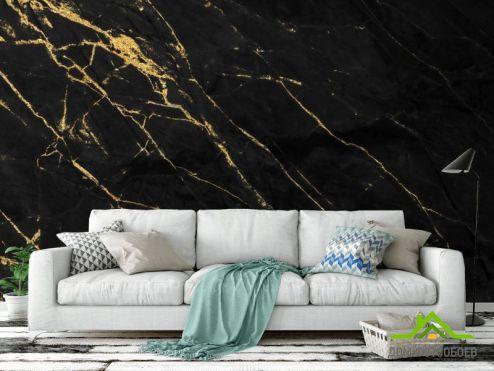 Черные  Фотообои Черный мрамор с золотом