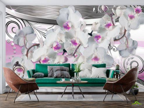 Серые  Фотообои Орхидея и абстракция 3d