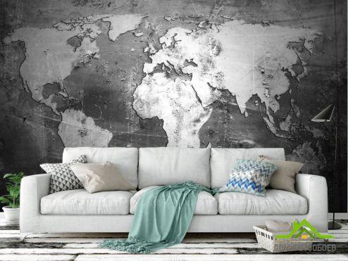 Карта Фотообои Серая карта лофт