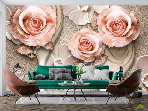 3Д  Фотообои Розы стереоскопические