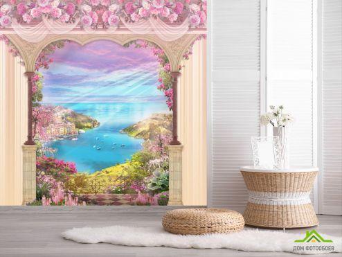 обои Фрески Фотообои Фреска арка с видом на море