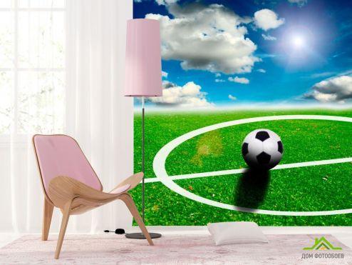 Зеленые обои Фотообои Мяч на поле