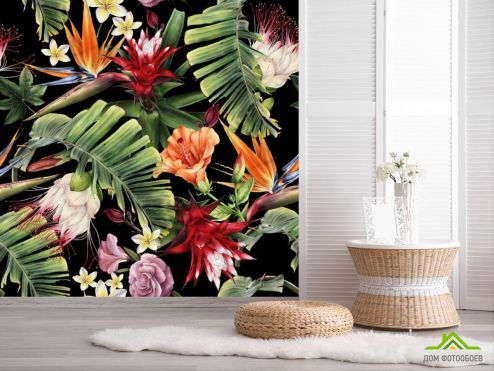 обои тропические листья Фотообои Тропические листья на черном