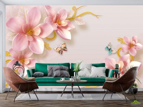 3Д барельеф Фотообои Керамические лилии с бабочками
