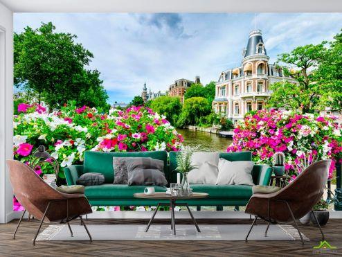 Улицы Фотообои Цветы на мостике, Амстердам