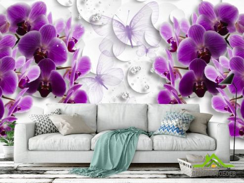 3Д  Фотообои Фиолетовые 3д орхидеи