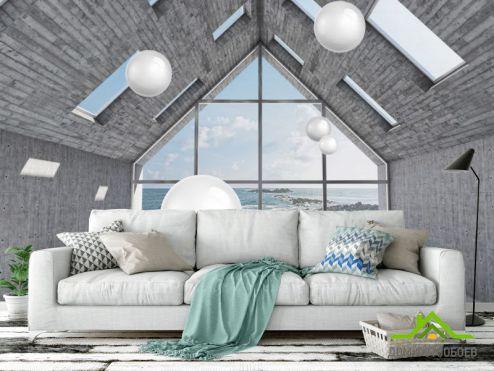 Вид из окна Фотообои  Комната с шарами