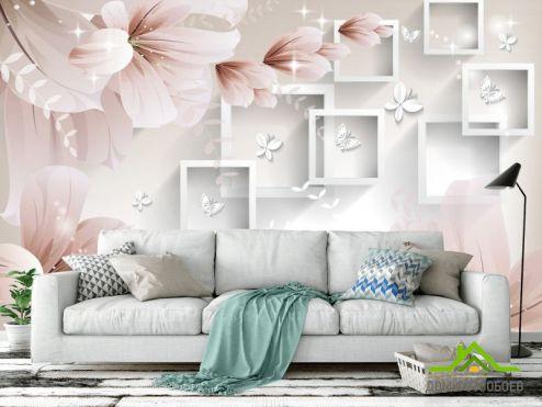 3Д обои Фотообои  Абстрактные обьемные цветы