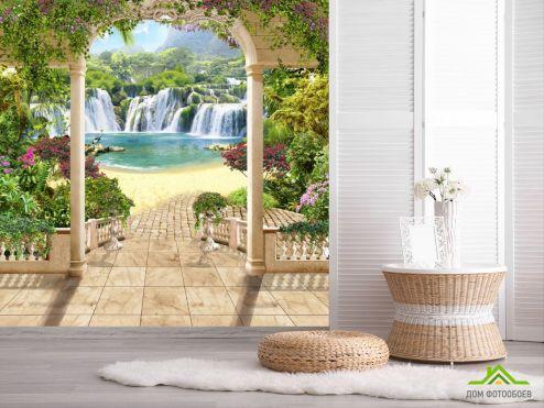 обои Фрески Фотообои вид с арки на водопад