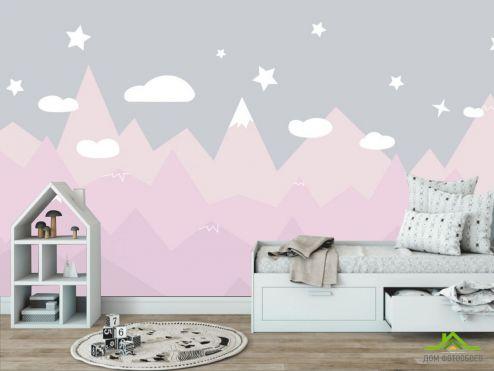Little kids Фотообои Розовые горы