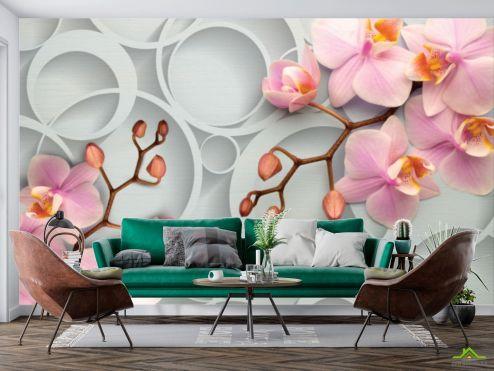 стереоскопические Фотообои Розовые орхидеи купить
