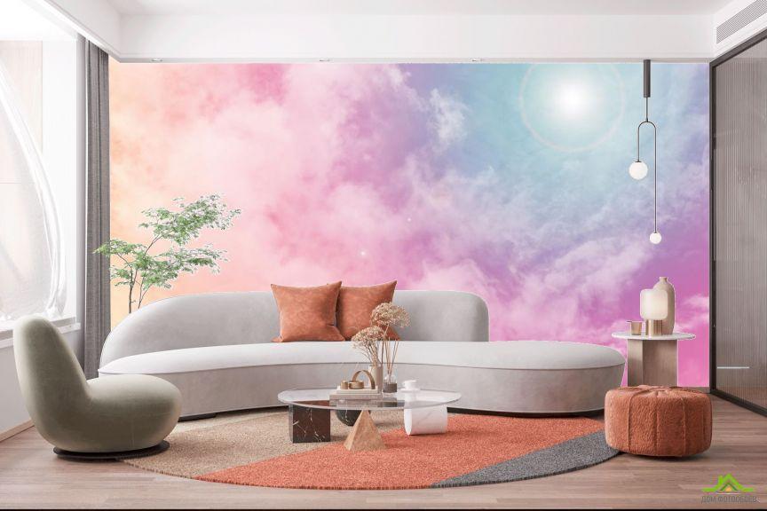 Фотообои солнечное розовое небо