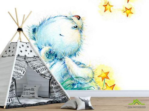 для малышей Фотообои Голубой мишка