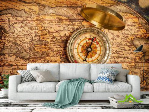 Карта Фотообои Старая карта с компасом