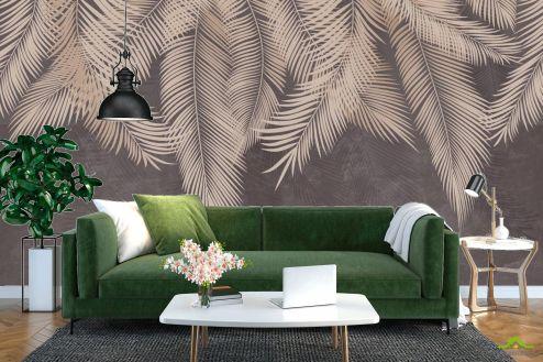 тропические листья Фотообои Коричневые листья с потолка