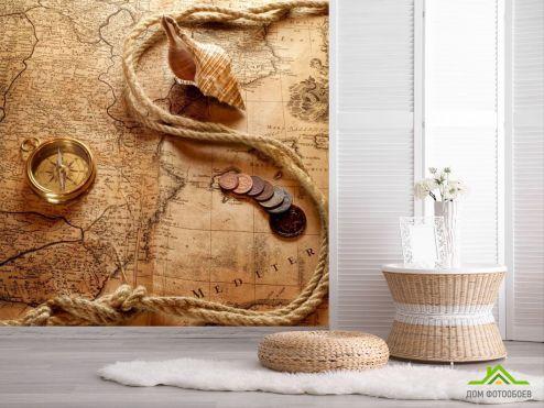 обои Винтажный Компас Фотообои Карта и компас