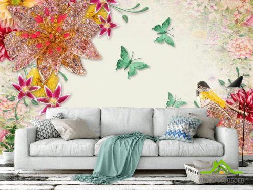 Цветы Фотообои Георгины и брошки