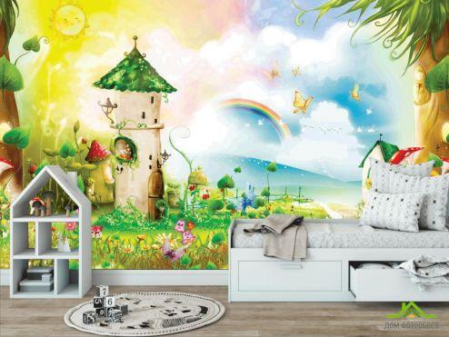 обои в детскую Фотообои Сказочные домики и радуга