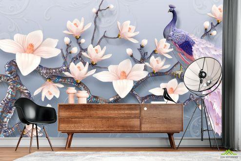 Восточный стиль Фотообои Цветы магнолии и павлин