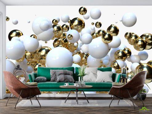 3Д  Фотообои Бело-золотые 3д шары купить