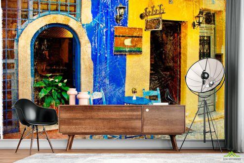 Винтажная Улочка Фотообои Улица в Греции