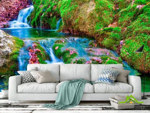 Водопад Фотообои Мох, вода