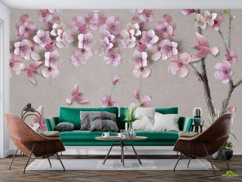 3Д  Фотообои Розовая ветка сакуры