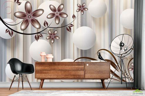 3Д  Фотообои  Цветы на коричневом фоне