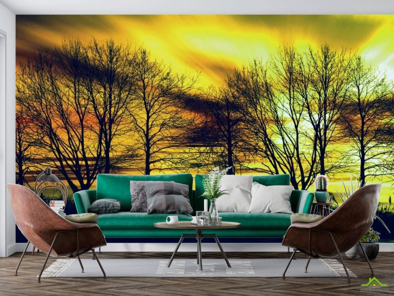 Фотообои желтое небо за деревьями