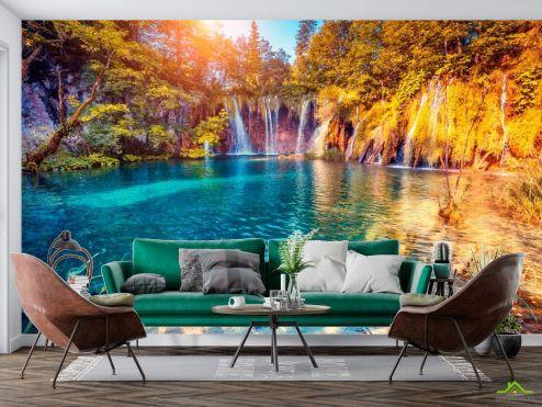 Природа Фотообои Много водопадов, горы