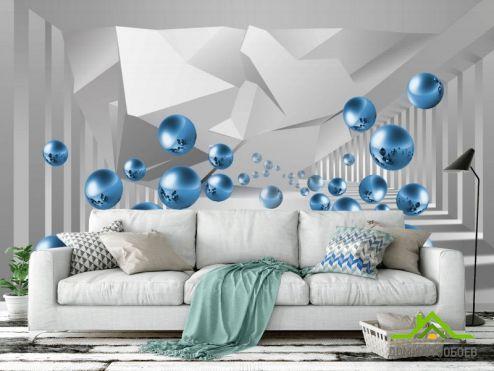 3D обои расширяющие пространство Фотообои синие шары в воздухе перспектива