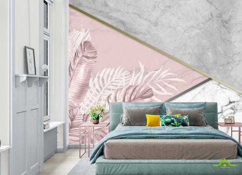 Фотообои в спальню по выгодной цене Фотообои Мраморный фон и листья