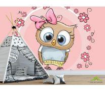 Фотообои Совушка на розовом фоне
