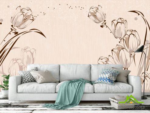 обои цветы 3d Фотообои Векторные тюльпаны 3Д