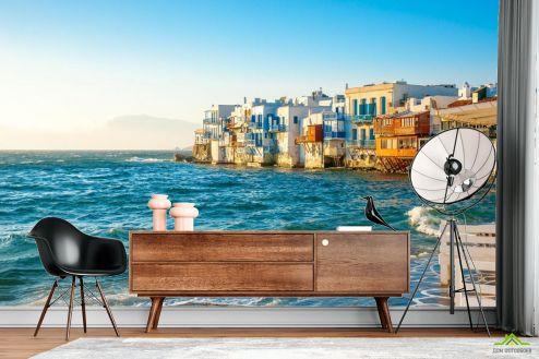 Фотообои Море по выгодной цене Фотообои Домики над морем