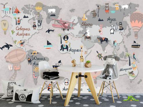 Фотообои в детскую по выгодной цене Фотообои Десткая карта